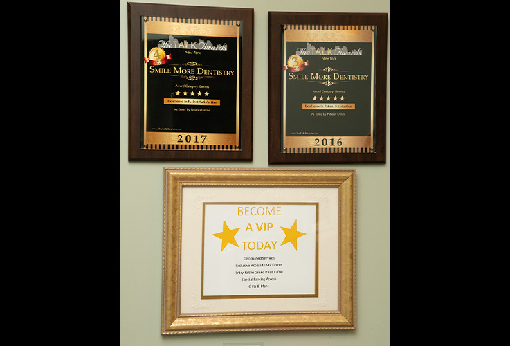 Award plaques on wall